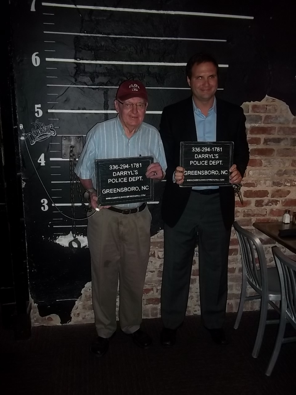 Congressman Coble and Marty Kotis get their mugshot