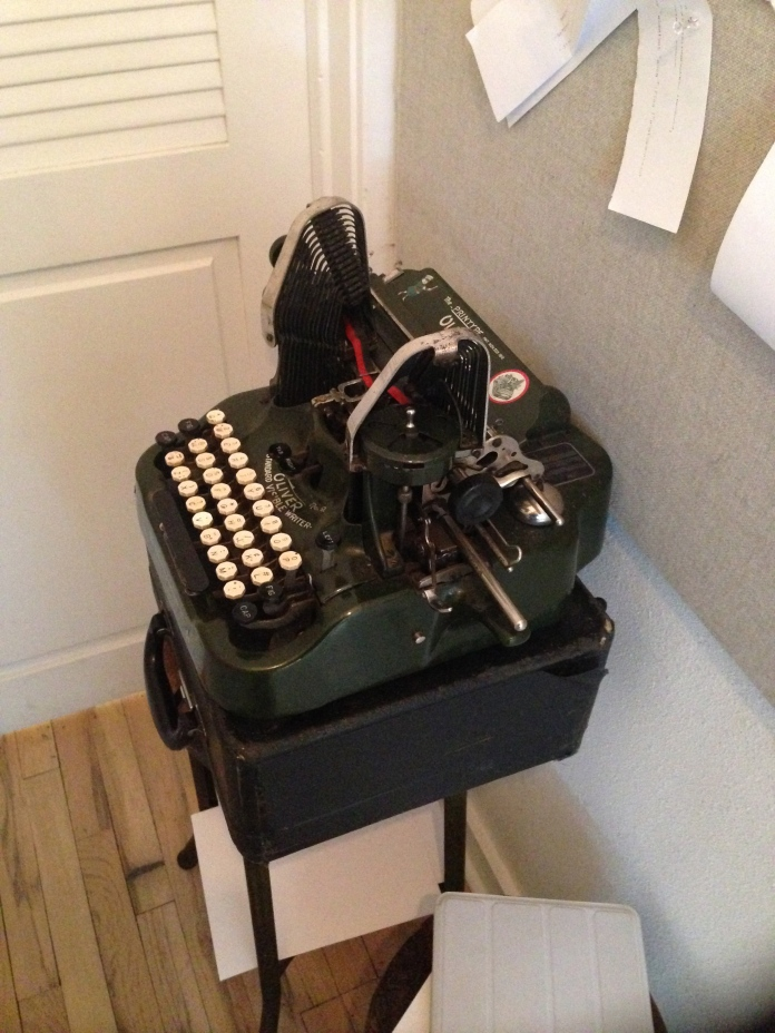 Old Typewriter outside restaurant bathroom