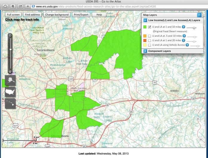 USDA Food Desert Map of Greensboro, NC