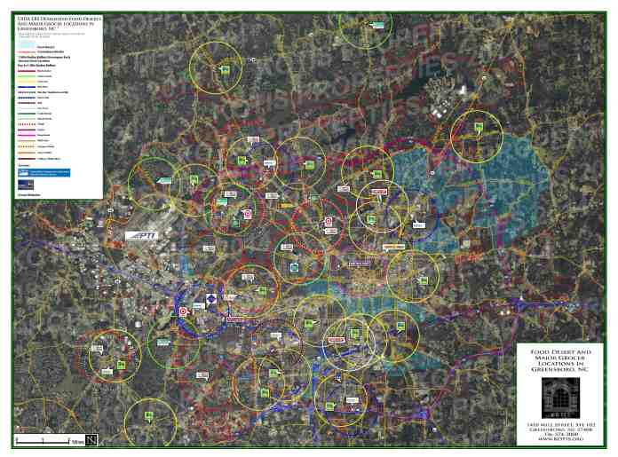 Aerial Map of Greensboro, NC - 1 mile rings around Grocery Stores, Blue indicates Food Deserts