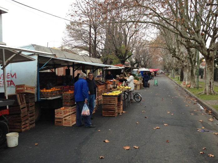 A Mobile Farmers Market in Argentina - Trailers Pulled by Trucks to a Neighborhood
