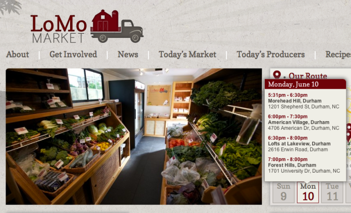 Inside of the LoMo Market Trailer with Webpage Scheduling