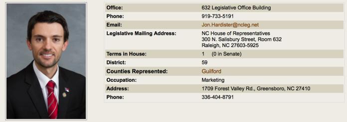 NC House District 59 Representative Jon Hardister
