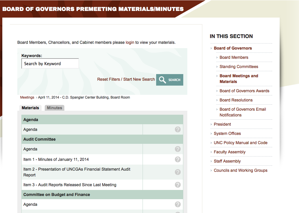 UNC Board of Governors April 2014 Meeting Materials Page