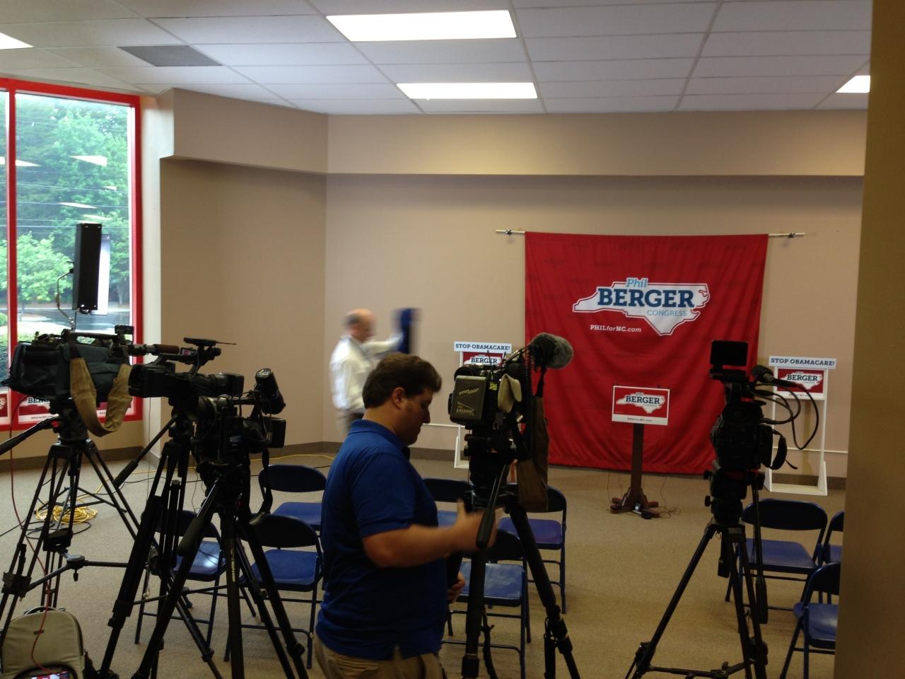 Media setting up at Coble Endorsement