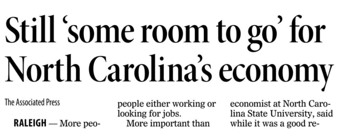 News & Record's Headline  About Unemployment Rate Drop in NC
