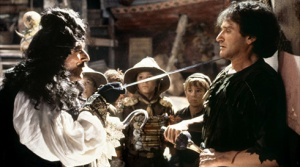 Peter Pan (Robin Williams) fighting Captain Hook.